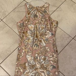 Blush and silver sequin floral dress (XS)